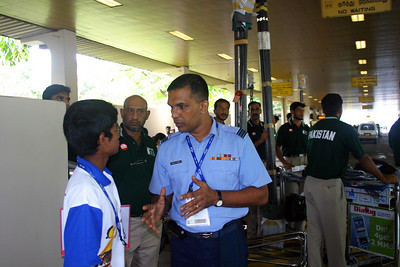 Outside the airport, Squadron Leader Perera is speaking with our Liason Officer, Harindra Dahanayake.