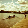 Mens rowing four coming back to the docks after a practice