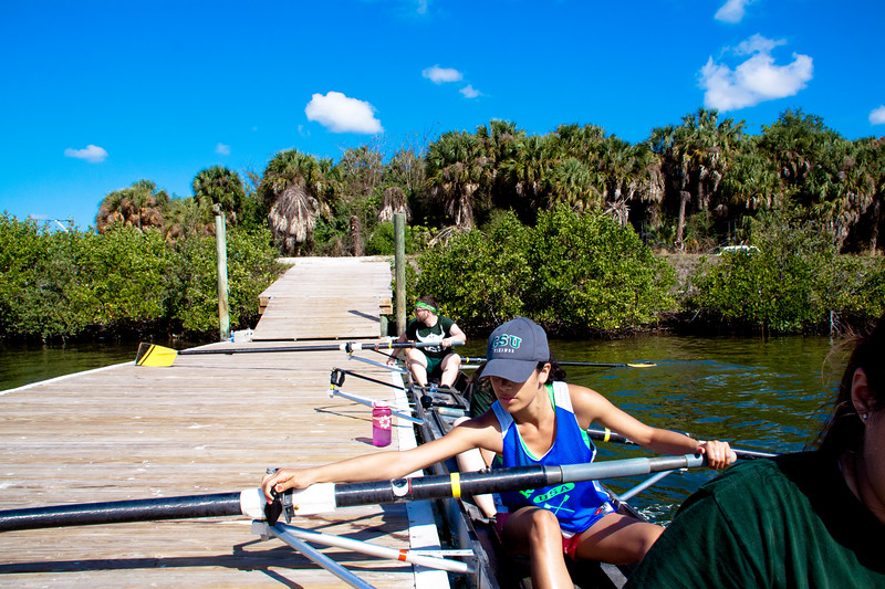 Our coxswain learning to row