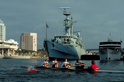 Spring Break in Tampa passing by a British naval vessel.  Amanda Claypool and Jennifer are in the boat as well.