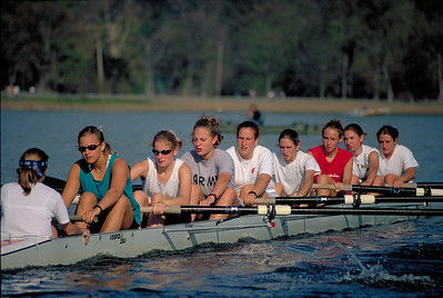 Varsity Eight on the prowl.  I think it is Sarah coxing.