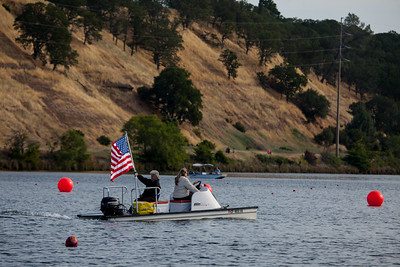 The National Anthem played when the flag boat went by.