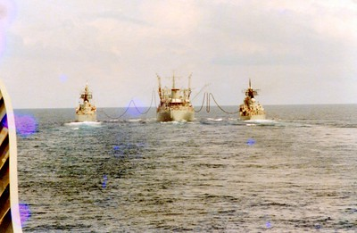HMAS Supply conducting a double refuelling. Taken from HMAS Stalwart.