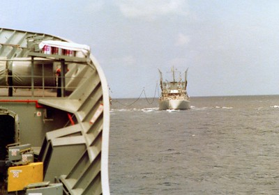 HMAS Stalwart with HMAS Supply in front conduction a Replenishment at Sea (RAS) exercise. Indian Ocean 1978.