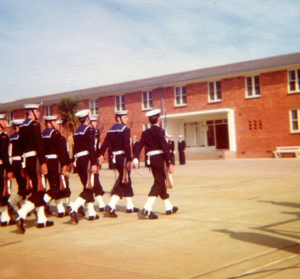 Me, fourth from left. Recruit School passing out Parade, HMAS Cerberus, 1976.