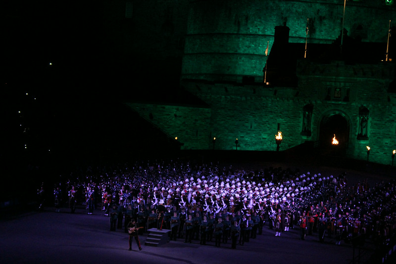 Massed performers working up to the finale
