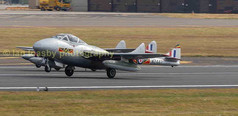 The civilian registered and Norwegian owned ex RAF Vampires depart