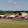 Spains aerobatic  team the 'Patrulla Agulia , in their C101Avojets start their display.