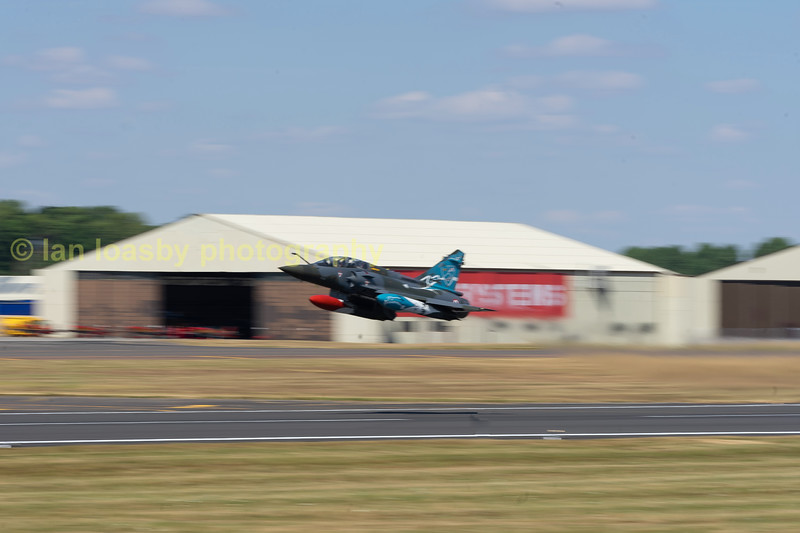 French Air Force Mirage   200D   S/no 624,  takes to the sky to begin the demonstration.