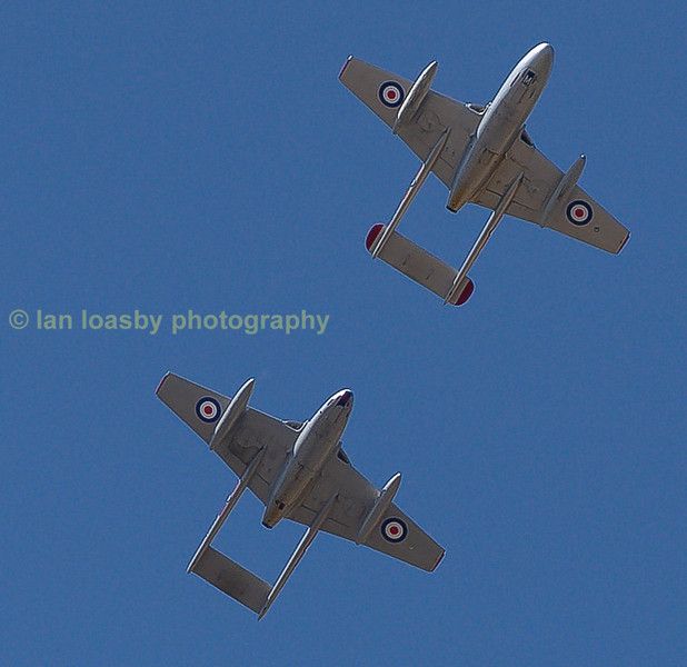 Two ex RAF Vampires display, these are now privately owned in Norway