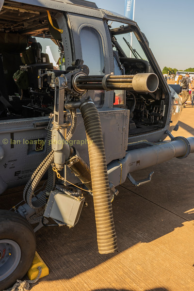 Mini Gun on the starboard door of a ASAF Pave hawk helicopter