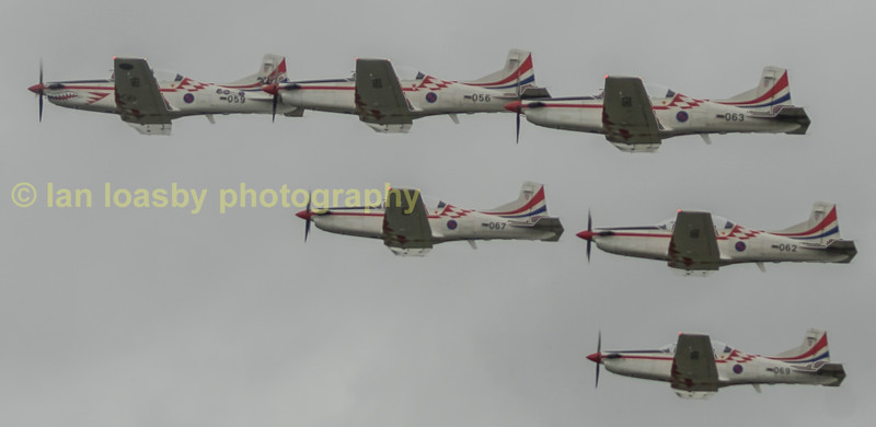 The Croatian Air Force aerobatic display team Krita Oluje with their Pitatus PC-9Ms