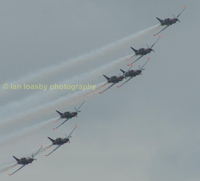 The Polish airforce's aerobatic team 'The Orlik aerobatic team'' flying 7 x PZL -Meitec PZL -130TC II Orliks ( In English Orlik means Spotted Eagle)