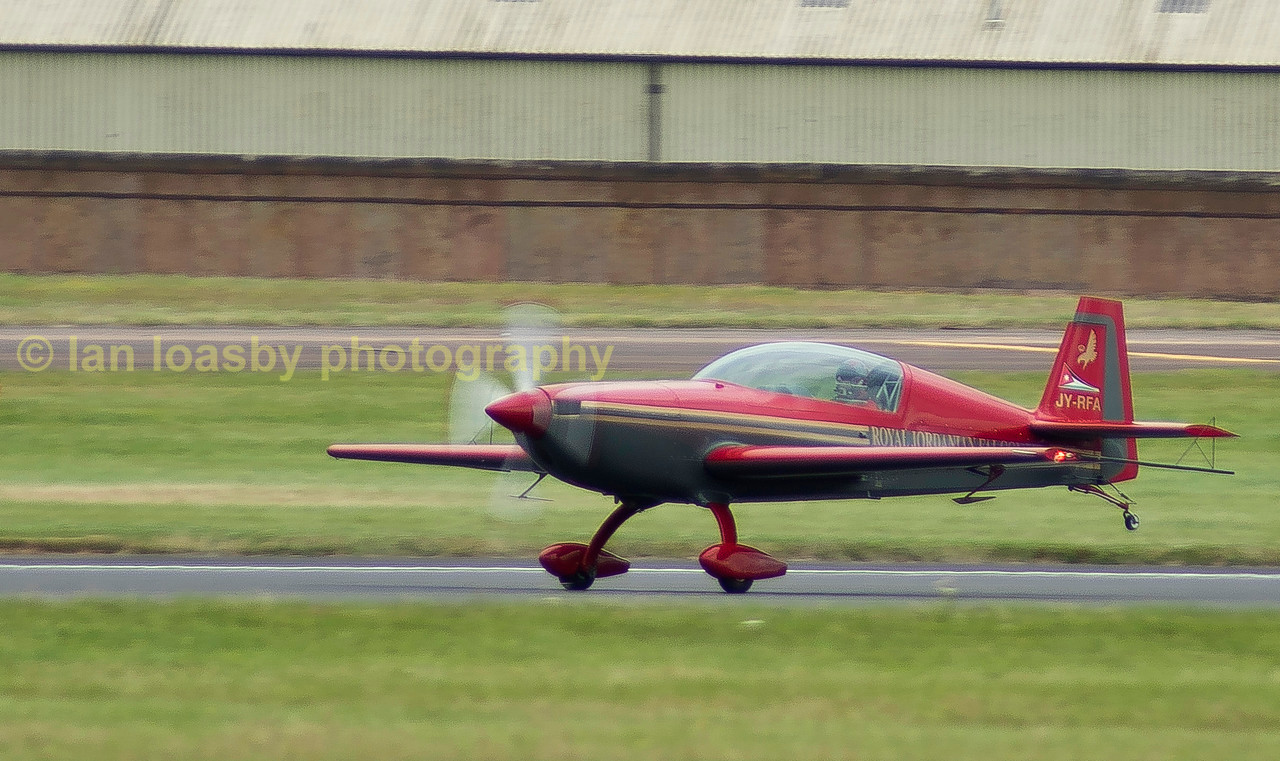 Back safely on the ground an Extra 300L of the Royal Jordanian Falcons display team.