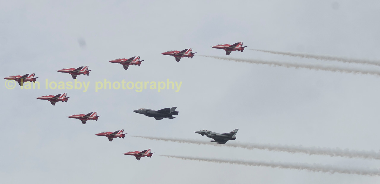 The showpiece fly past of RIAT 2016, the Red Arrows escort a new F35b and Typhoon  showing the future of RAF and British air power in years to come