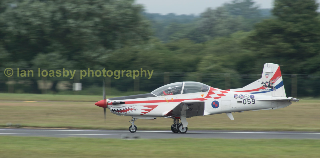 A lovely panning shot of one of the Croatian Air Force's display team leaders  aircraft a Pilatus PC-9M
