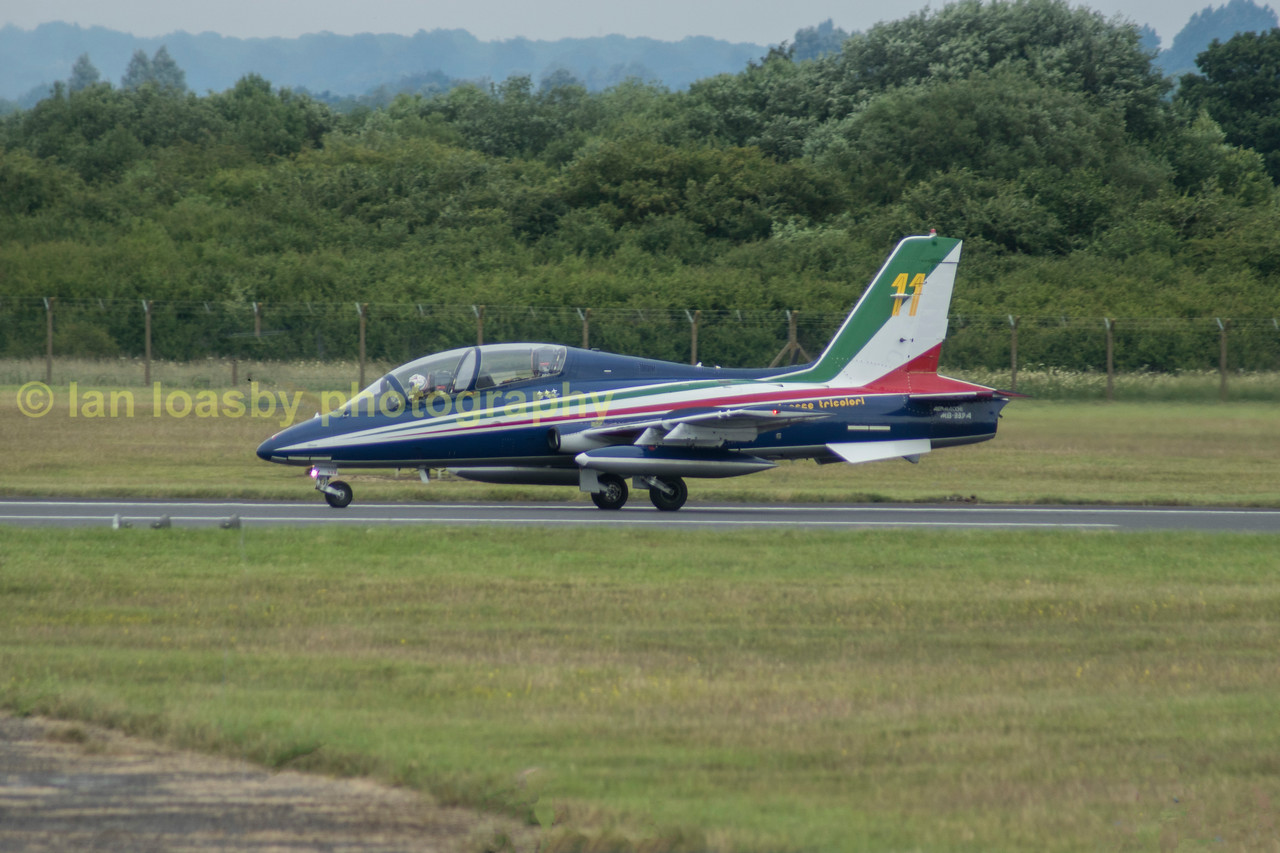 Back on the ground safe and sound an Aermacchi AT-339-A-s of the Italian aerobatic display team the Frecci Tricolori