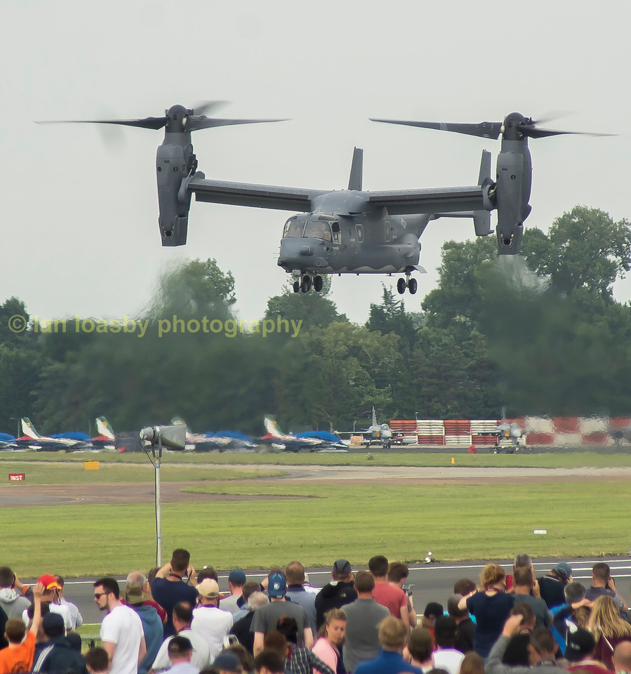 Now the pilot has rotated his Rolls Royce engines through 90 degrees  and allows for vertical landing/take off and by slight adjustment to the pitch of the rotors / propellors he can manouvre forward in the same way as a helicopter