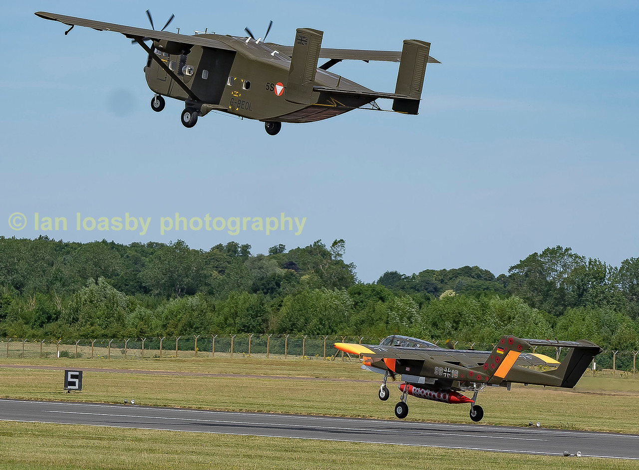 G-BEOL '55TC' A Shorts SC7 Skyvan 3M owned by Eureka aviation departs RIAT 2017 on monday, along with fellow stable mate G-ONNA) a North American OV-10B-Bronco in German airforce livery 99-18
