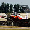 The 38th Jet Provost T5 built at Warton for the RAF is this example  XW324 (G-BWGG) is seen departing RIAT