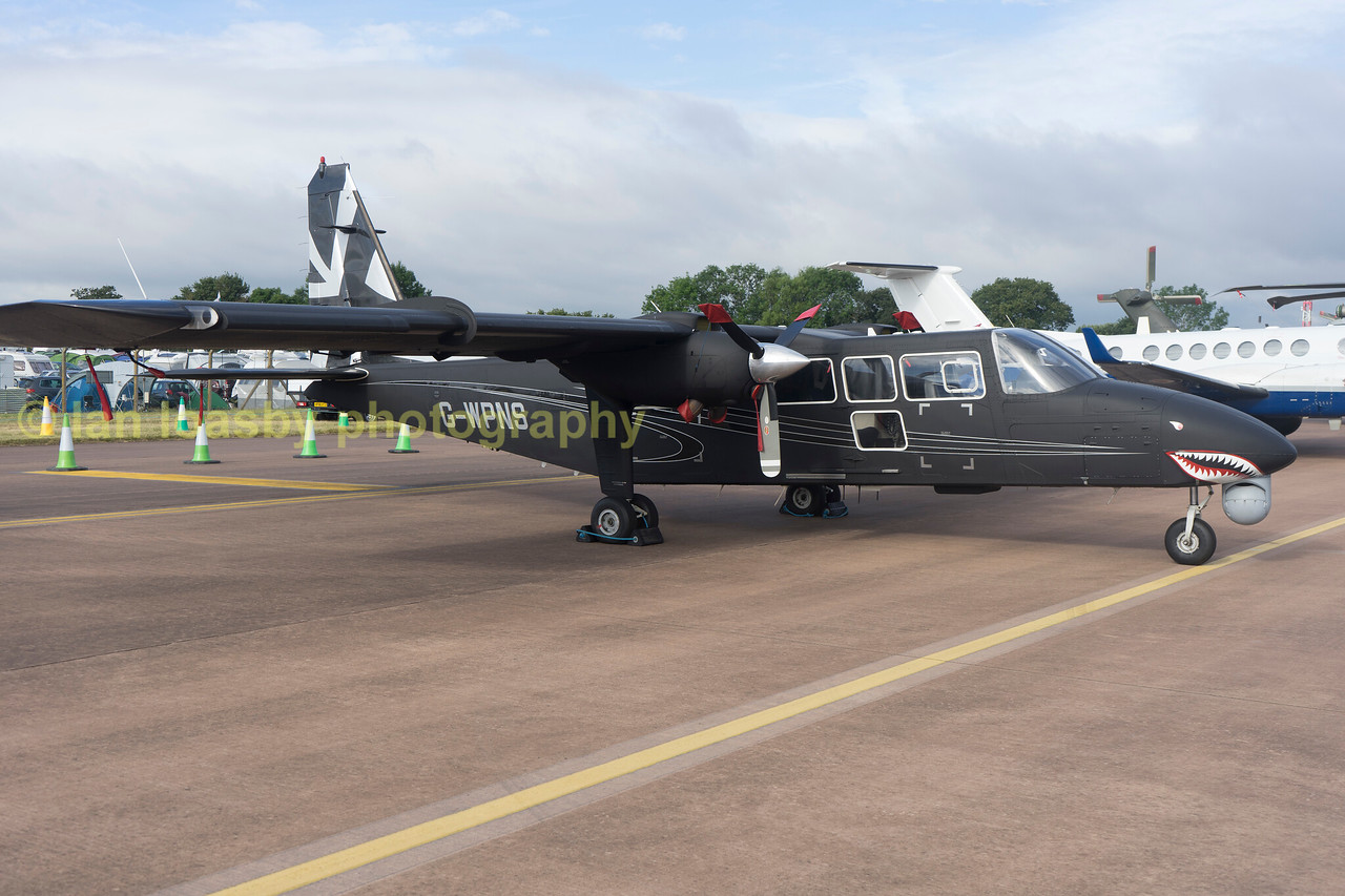 G-WPNS is a Defender slightly bigger than the islander and is a very robust little aircraft,  It can carry out multi roles such as counter insurgency and anti terrorism roles and battlefiel surveilance due tp being able to operate from beaches jungle clearences as well as standard airfields