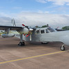 Photographed on the groundon the static line display the BN 21-Islander fitted with the radar dome in the nose.