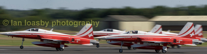The Suisse airforce display team Patrouille Suisse departing on monday