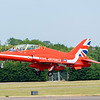 A red arrows Hawk departs on a single mission