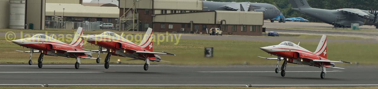 Swiss dispay team,  Patrouille Suisse,  in their Northrop  F-5E Tiger II start their display