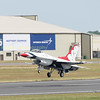Thunderbirds are go,  the USAF demonstration team 'The Thunderbirds ' were one of the star attractions of RIAT 2017 flying their F16's, Thunderbird 3 flown by Maj Nate Hofmann is seen taking to the sky at the start of the teams demo