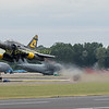 """French display team  Couteau take to the Fairford skies with their lead Dassault mirage """"2000D0D"""