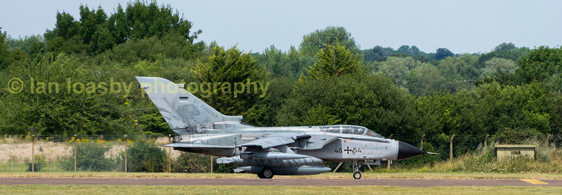 Luftwaffe Tornado ECR 46+54 taxi's down to dispersal in readiness for departure from RIAT