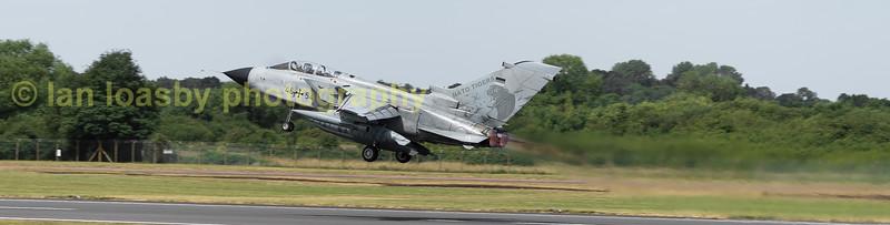 Luftwaffe Tornado ECR 45+54 departs RIAT2017 having been a static  exhibit
