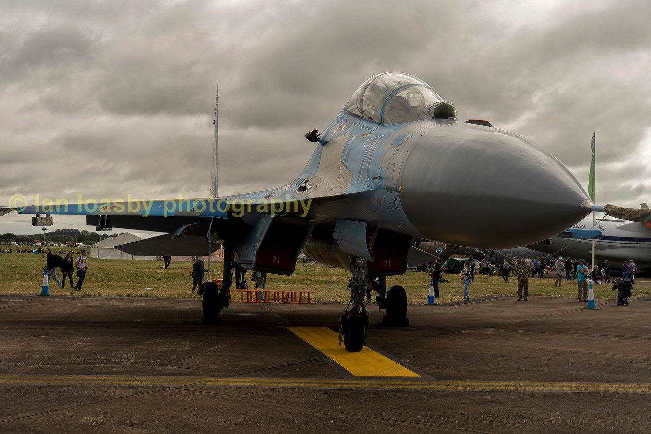 The star of the show, an Ukrainian Airforce Sukhoi Su-27 UB1M Air Superiority fighter NATO code name FLANKER , on display from the 831sttactical aviation Brigade Myhorod Ukraine.  this fighter has legendary reputation and is still in front-line service with numerous air arms around the world, and this appearance from two of the Ukrainian  examples (one on static display and one in  the flying display are becoming a rarity