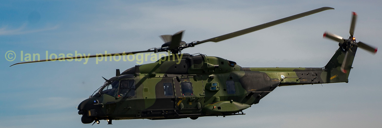 The futuistic looking Finnish army NH Industries NH90 TTH departs RIAT 2017.