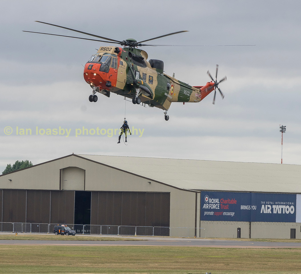 Belgian Sea King Mk40 RS-02 from 40 Sqn air sea rescue aircraft, demonstrates the recovery of downed airmen