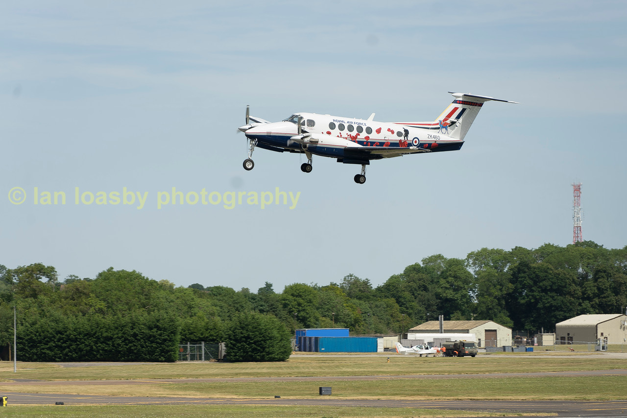KIng Air B200GT ZK460 / U from 3FTS 45(R)Sqn departs RIAT