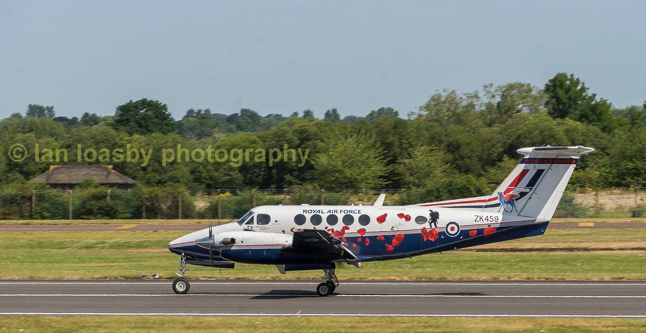 Beechcraft King Air ZK459 departs from RIAT