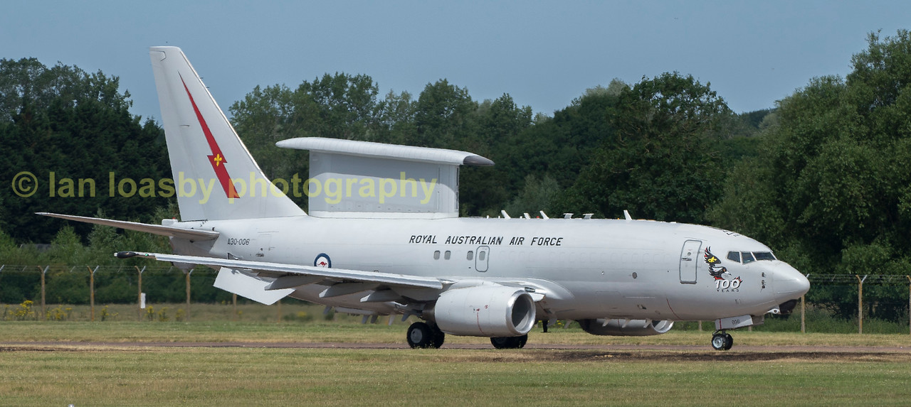 RAAF E-7A Wedgetail A30--006 taxis to dispersal in readiness for departure from RIAT