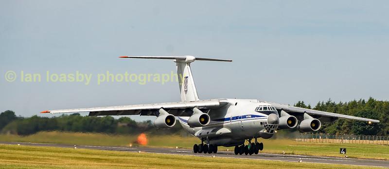 The Ukrainian Airforce IIylushin 76 78820 depart sback to the Ukraine