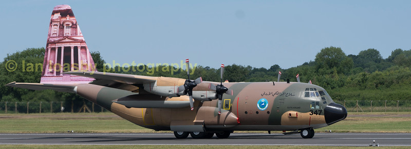 Royal Jordanian Airforce C130H Hercules  374 taxis down the runway to dispersal prior to departing RIAT 2017