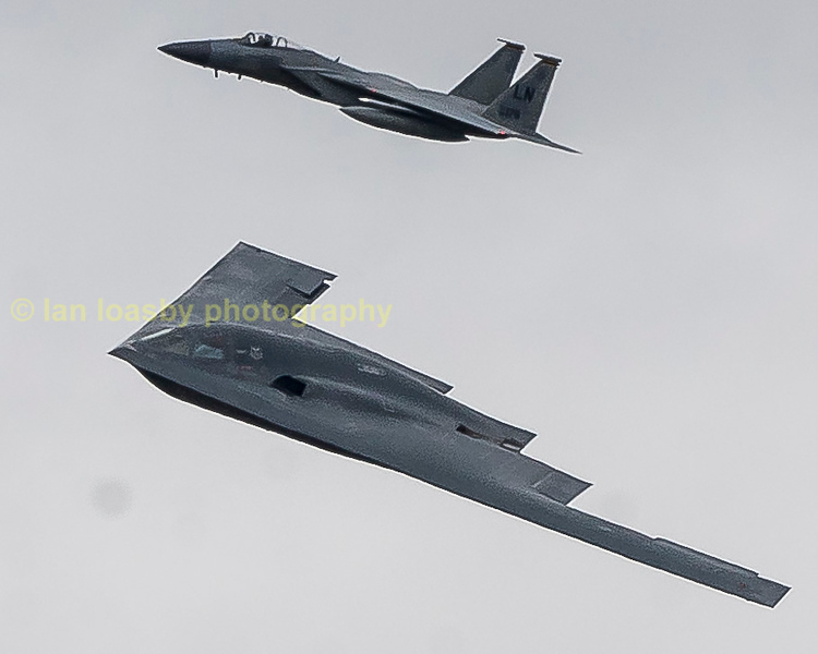 B2 1087 from Whiteman AFB Missouri is escourted by a Lakenheaths based  F-15