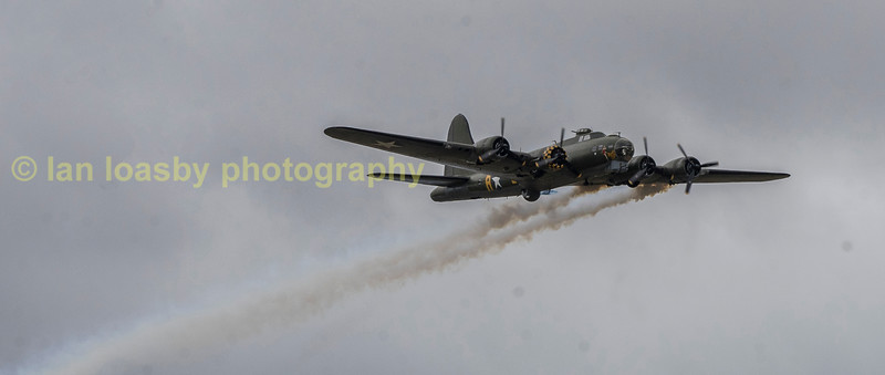 Sally B always ends her display by trailing smoke from her engines as a sad reminder that all was not well on a return from a raid  on many occasions and we should never forget the sacrifice by those of a previous generation who gave us our future