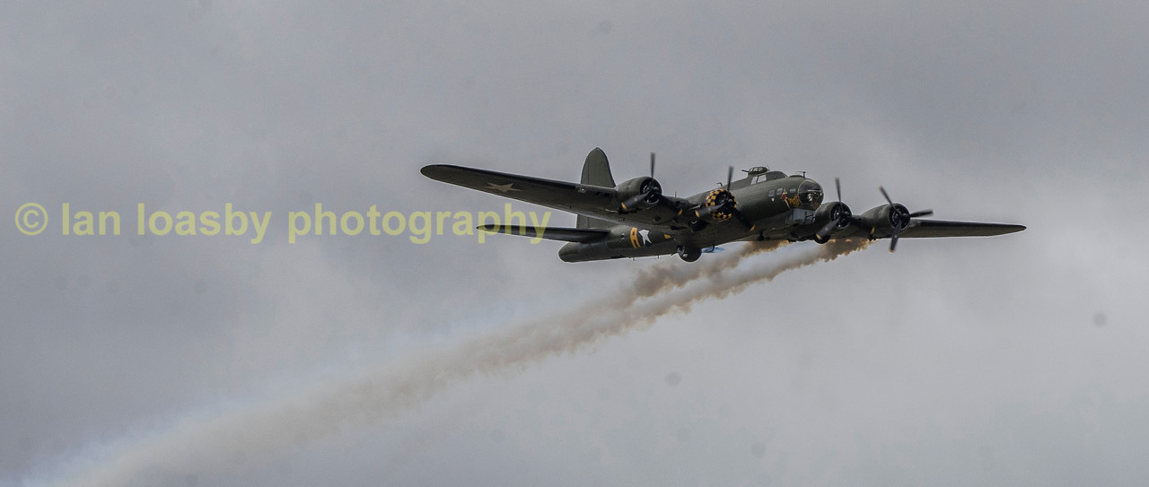 Sally B always ends her display by trailing smoke from here engines as a sad reminder that all was not well on a return from a raid  on many occasions and we should never forget the sacrifice by those of a previous generation who gave us our future