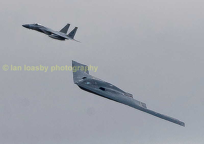 Look to your right and you will see a surprise said the air show commentator, and boy did i get a surprise as this B2 Stealth bomber appeared escourted by two Lakenheath F-15 tthough i have cropped this image just to show one