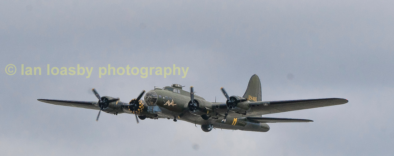 The only remaining  flying example of the USAAF icon the Boeing B17 Flying Fortress in europe  is the B-17 Preservation Societies 'Sally B', 124485 / DFA  (G-BEDF)