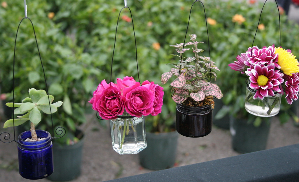 . Puddingstone, a family business from Decatur, Michigan, offered jewel-like hanging bud vases for sale.   Visitors browse a wide selection of zinnias, geraniums, begonias, and other flowers and plants at Sunday\'s 24th Annual Royal Oak in Bloom festival in Royal Oak, Michigan on May 14, 2017.  Over 65 vendors offered hanging baskets, plants, vegetables, perennials, annuals, and garden accessories for sale to families shopping this annual Mother\'s Day event hosted by the Royal Oak Chamber of Commerce. (Photo by: Brandy Baker)