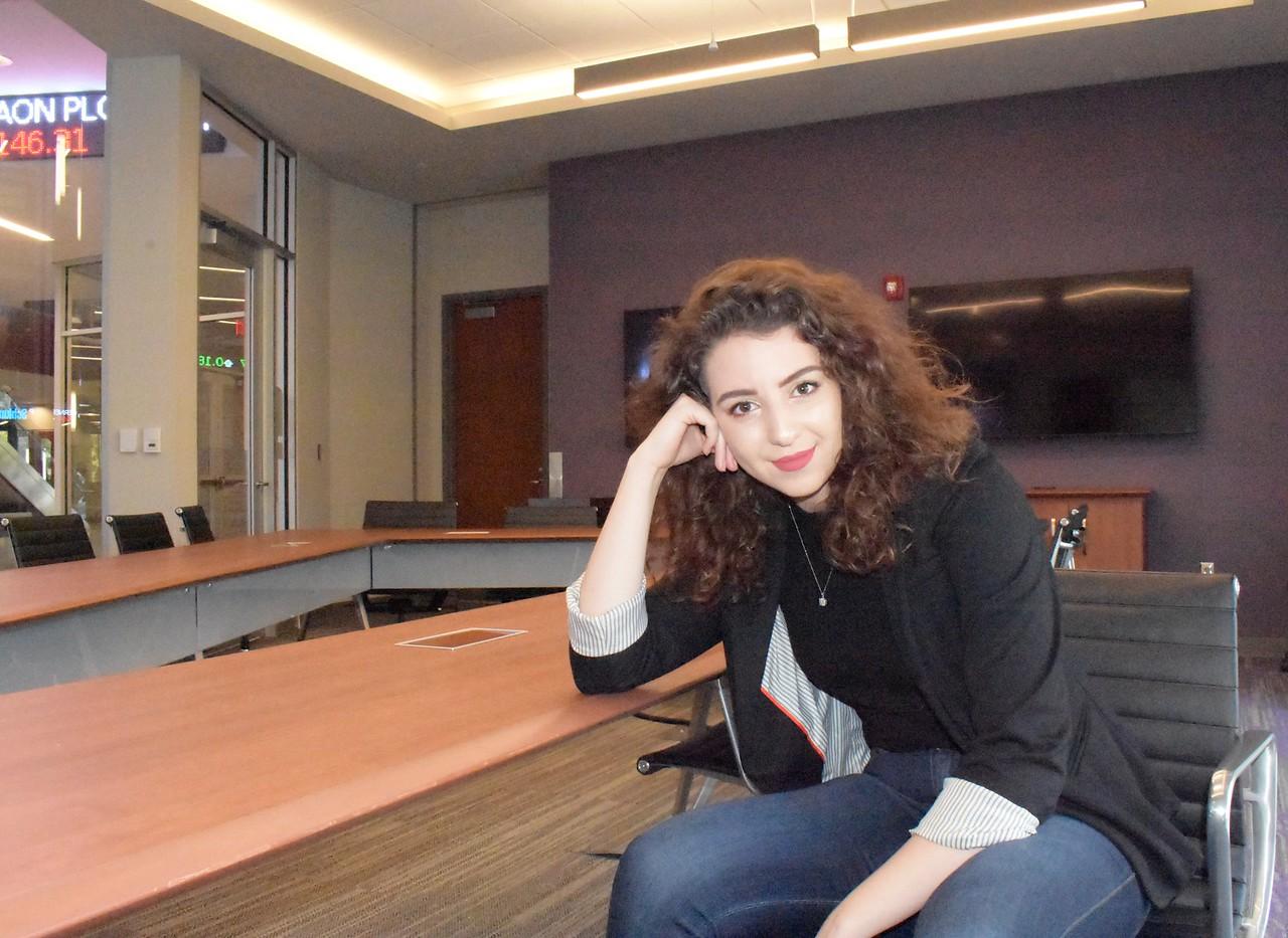 Kansas State University international student,  Mary Abounabhan, majoring in Business Management, in the Business building.   (Skylar Stephens | Collegian Media Group)