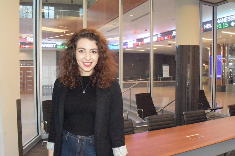 Kansas State University international student,  Mary Abounabhan, majoring in Business Management, in the Business building.   (Skylar Stephens | Collegian Media Group)