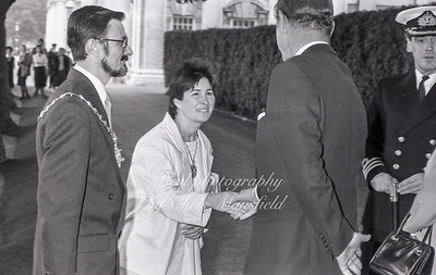 July 30th 1987 .  Mayor John Austin-Walker meets HRH the Queen and the Duke of Edinburgh at the Greenwich  naval college before crossing the river to open the Docklands light railway